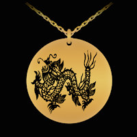 Medieval Dragon engraved necklace