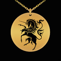 Heraldic Unicorn engraved necklace