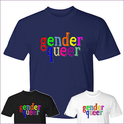 shirts displaying Gender Queer text in multliple colours